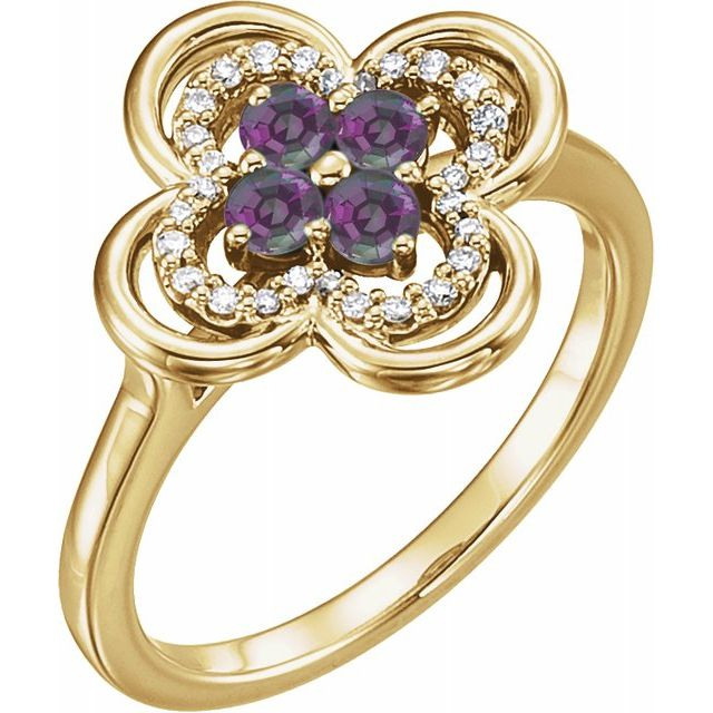 Chatham Created Alexandrite Ring in 14 Karat Yellow Gold Chatham Created Alexandrite & 1/10 Carat Diamond Ring
