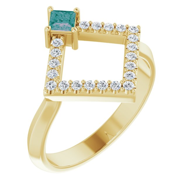Chatham Created Alexandrite Ring in 14 Karat Yellow Gold Chatham Created Alexandrite & 1/5 Carat Diamond Geometric Ring