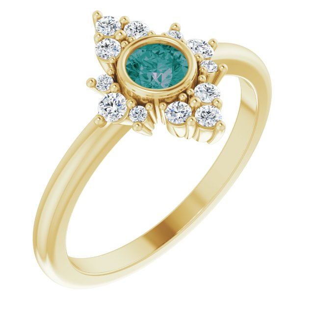 Chatham Created Alexandrite Ring in 14 Karat Yellow Gold Chatham Created Alexandrite & 1/5 Carat Diamond Ring