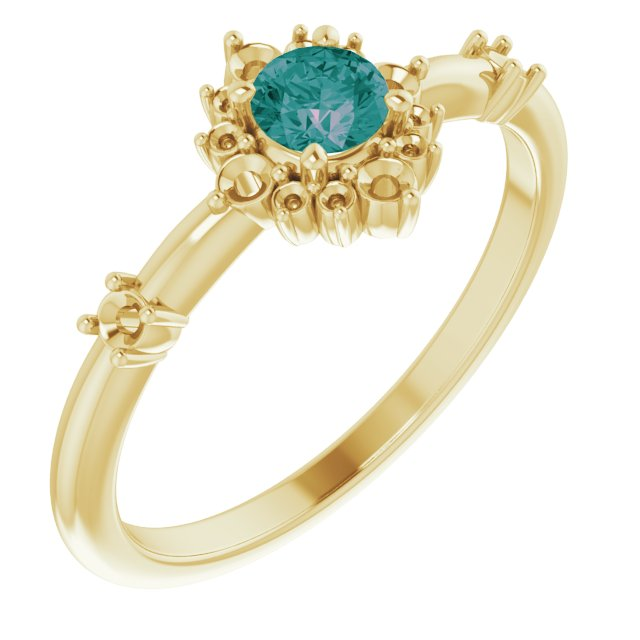 Chatham Created Alexandrite Ring in 14 Karat Yellow Gold Chatham Created Alexandrite & 1/6 Carat Diamond Ring