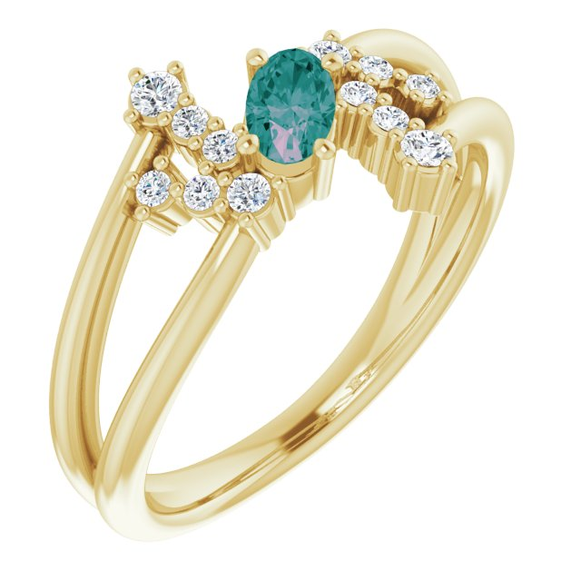 Chatham Created Alexandrite Ring in 14 Karat Yellow Gold Chatham Created Alexandrite & 1/8 Carat Diamond Bypass Ring