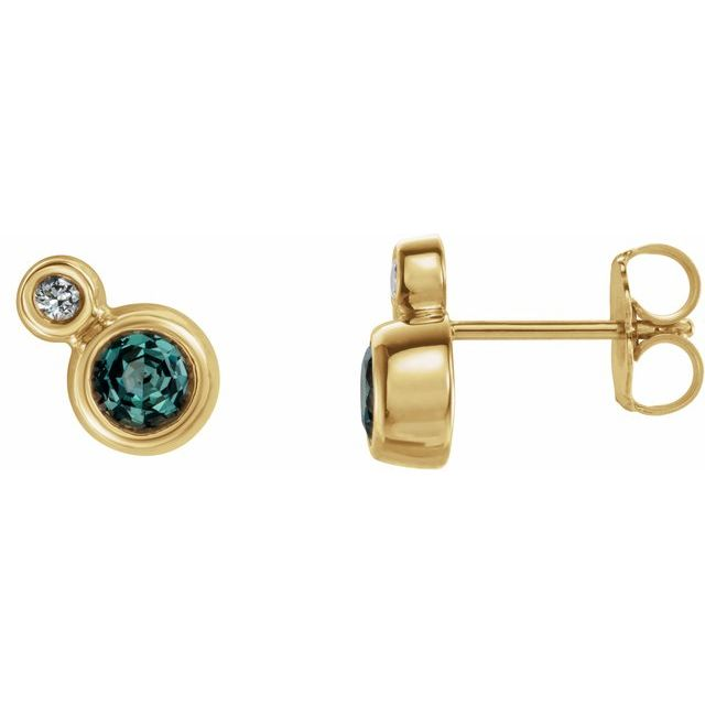Genuine Chatham Created Alexandrite Earrings in 14 Karat Yellow Gold Chatham Created Alexandrite & 1/8 Carat Diamond Earrings