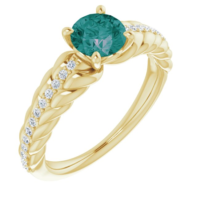 Chatham Created Alexandrite Ring in 14 Karat Yellow Gold Chatham Created Alexandrite & 1/8 Carat Diamond Ring