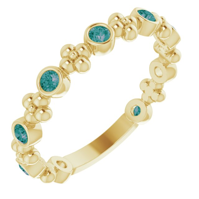 Chatham Created Alexandrite Ring in 14 Karat Yellow Gold Chatham Created Alexandrite Beaded Ring