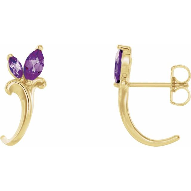 Genuine Alexandrite Earrings in 14 Karat Yellow Gold Chatham Created Alexandrite Floral-Inspired J-Hoop Earrings