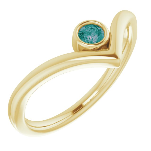 Chatham Created Alexandrite Ring in 14 Karat Yellow Gold Chatham Created Alexandrite Solitaire Bezel-Set