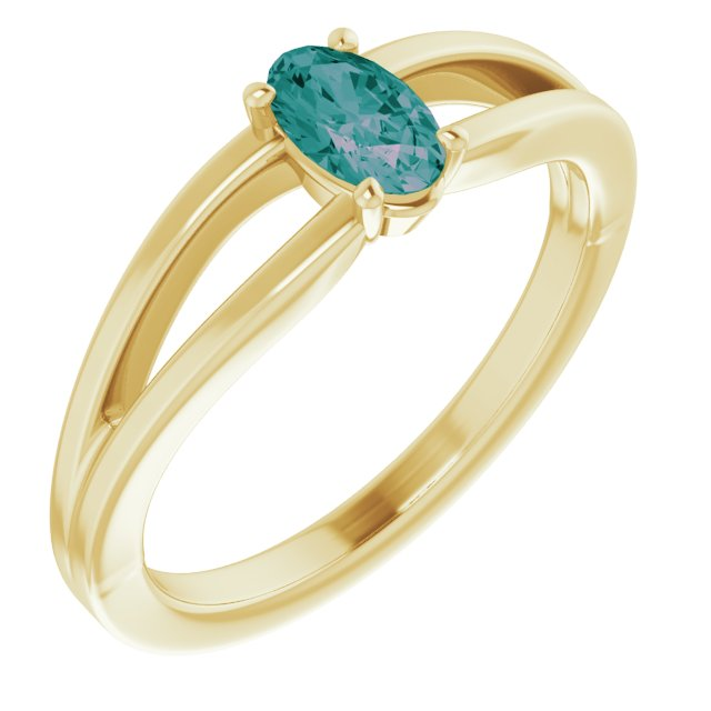 Created Alexandrite Ring in 14 Karat Yellow Gold Chatham Created Alexandrite Solitaire Youth Ring