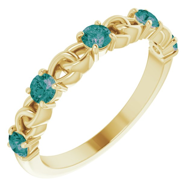 Chatham Created Alexandrite Ring in 14 Karat Yellow Gold Chatham Created Alexandrite Stackable Link Ring