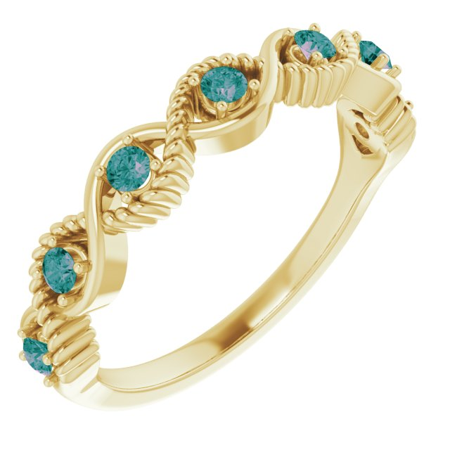 Chatham Created Alexandrite Ring in 14 Karat Yellow Gold Chatham Created Alexandrite Stackable Ring
