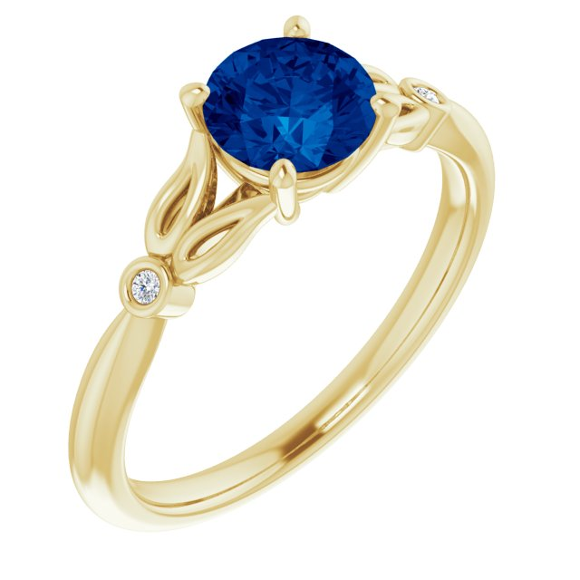 Genuine Created Sapphire Ring in 14 Karat Yellow Gold Chatham Created Genuine Sapphire & .02 Carat Diamond Ring