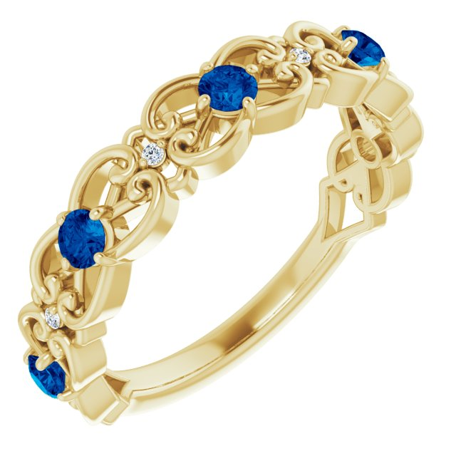 Genuine Chatham Created Sapphire Ring in 14 Karat Yellow Gold Chatham Created Genuine Sapphire & .02 Carat Diamond Vintage-Inspired Scroll Ring