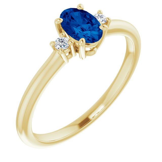 Genuine Chatham Created Sapphire Ring in 14 Karat Yellow Gold Chatham Created Genuine Sapphire & .04 Carat Diamond Ring