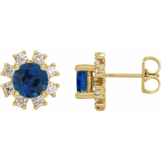 Created Sapphire Earrings in 14 Karat Yellow Gold Chatham Created Genuine Sapphire & .07 Carat Diamond Earrings