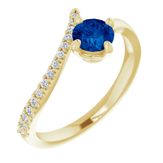 Genuine Chatham Created Sapphire Ring in 14 Karat Yellow Gold Chatham Created Genuine Sapphire & 1/10 Carat Diamond Bypass Ring