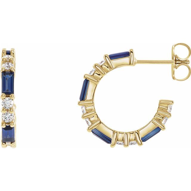 Created Sapphire Earrings in 14 Karat Yellow Gold Chatham Created Genuine Sapphire & 1/2 Carat Diamond Earrings