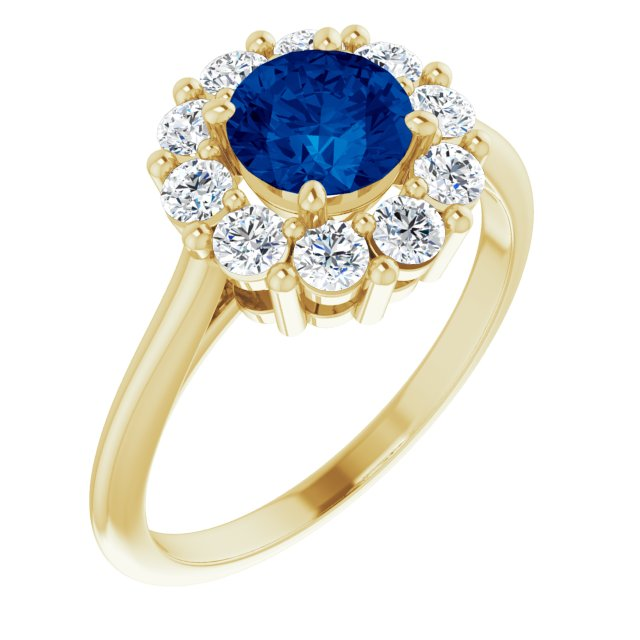 Genuine Created Sapphire Ring in 14 Karat Yellow Gold Chatham Created Genuine Sapphire & 1/2 Carat Diamond Ring