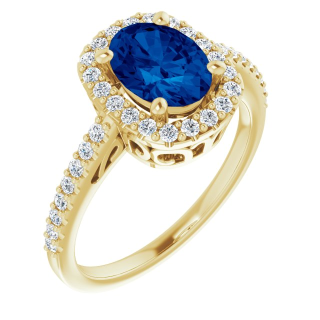 Genuine Chatham Created Sapphire Ring in 14 Karat Yellow Gold Chatham Created Genuine Sapphire & 1/3 Carat Diamond Ring