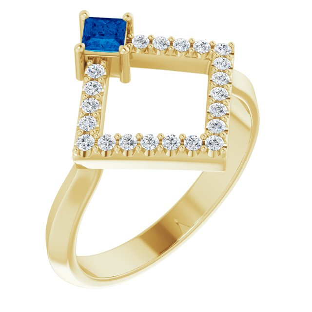 Genuine Chatham Created Sapphire Ring in 14 Karat Yellow Gold Chatham Created Genuine Sapphire & 1/5 Carat Diamond Geometric Ring
