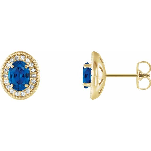 Created Sapphire Earrings in 14 Karat Yellow Gold Chatham Created Genuine Sapphire & 1/5 Carat Diamond Halo-Style Earrings
