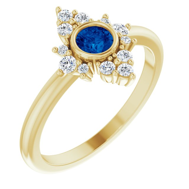 Genuine Chatham Created Sapphire Ring in 14 Karat Yellow Gold Chatham Created Genuine Sapphire & 1/5 Carat Diamond Ring