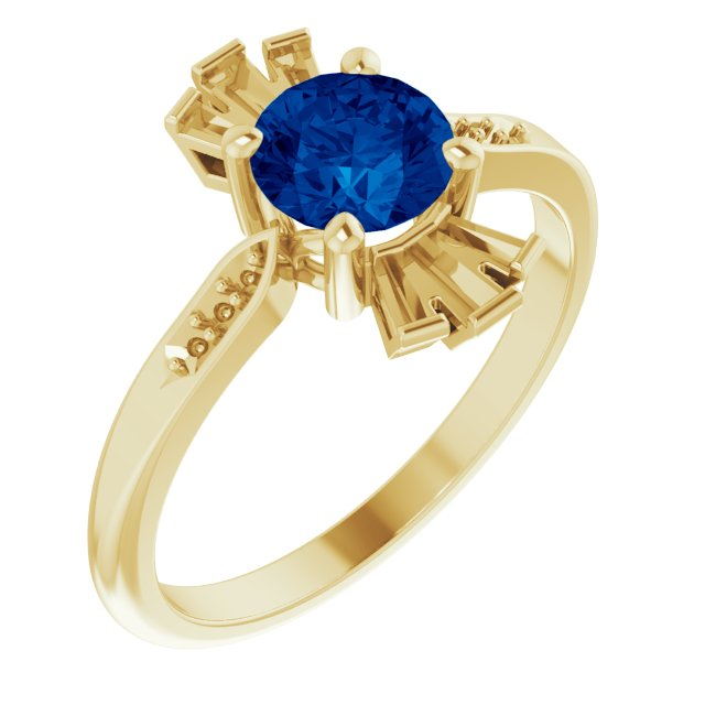Genuine Created Sapphire Ring in 14 Karat Yellow Gold Chatham Created Genuine Sapphire & 1/6 Carat Diamond Ring