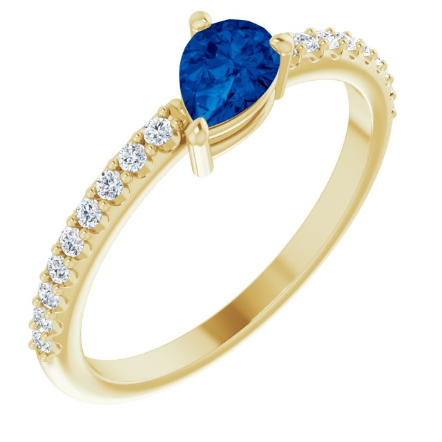 Genuine Chatham Created Sapphire Ring in 14 Karat Yellow Gold Chatham Created Genuine Sapphire & 1/6 Carat Diamond Ring