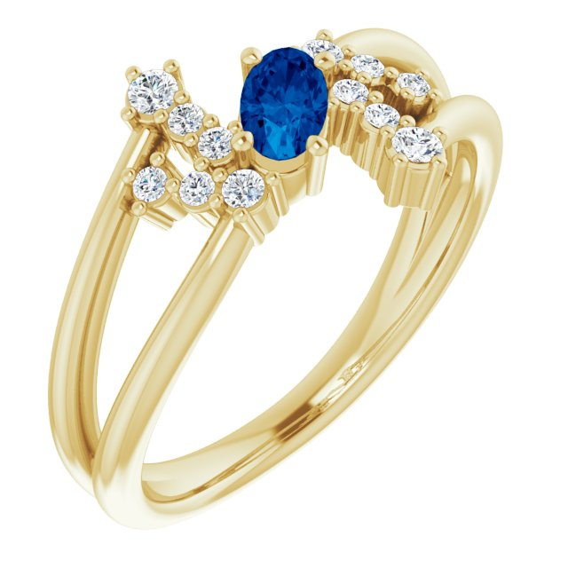 Genuine Chatham Created Sapphire Ring in 14 Karat Yellow Gold Chatham Created Genuine Sapphire & 1/8 Carat Diamond Bypass Ring