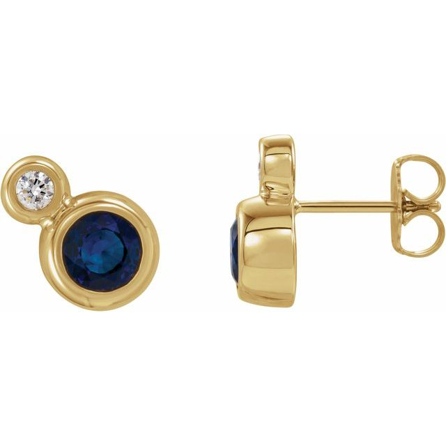Created Sapphire Earrings in 14 Karat Yellow Gold Chatham Created Genuine Sapphire & 1/8 Carat Diamond Earrings