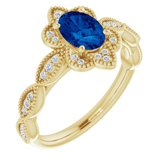 Genuine Chatham Created Sapphire Ring in 14 Karat Yellow Gold Chatham Created Genuine Sapphire & 1/8 Carat Diamond Ring