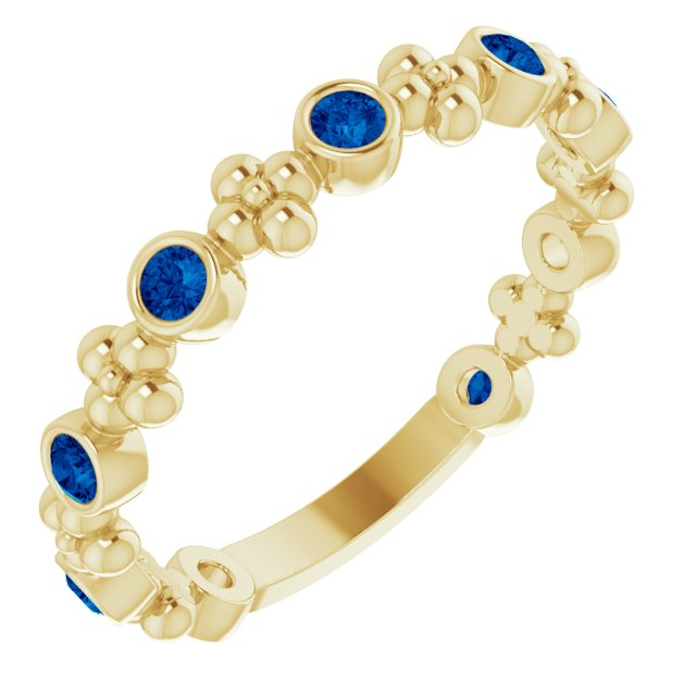 Genuine Chatham Created Sapphire Ring in 14 Karat Yellow Gold Chatham Created Genuine Sapphire Beaded Ring