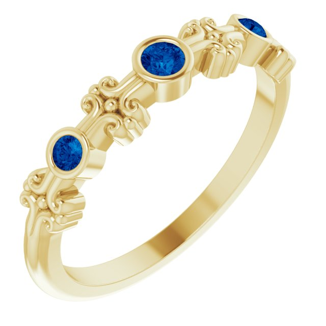 Genuine Chatham Created Sapphire Ring in 14 Karat Yellow Gold Chatham Created Genuine Sapphire Bezel-Set Ring
