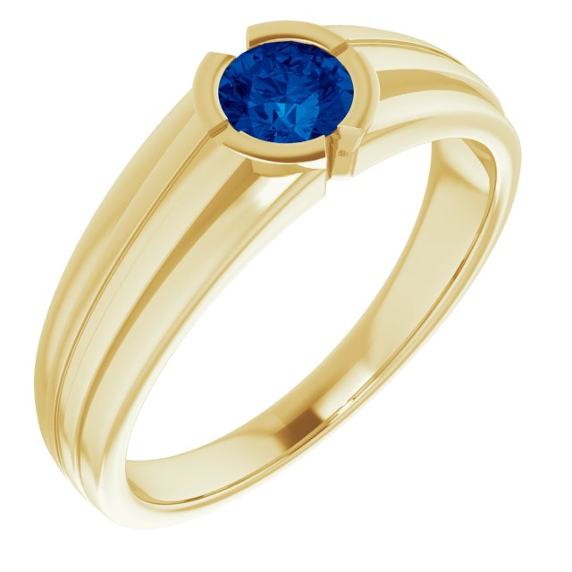 Genuine Chatham Created Sapphire Ring in 14 Karat Yellow Gold Chatham Created Genuine Sapphire Ring