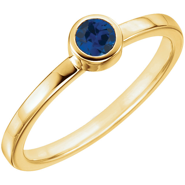 Appealing Jewelry in 14 Karat Yellow Gold Genuine Chatham Created Created Blue Sapphire Ring