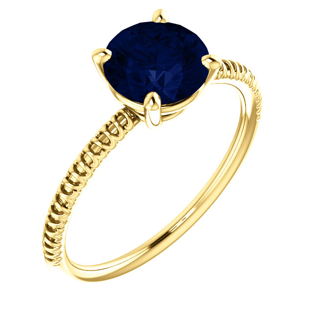 Genuine 14 Karat Yellow Gold Genuine Chatham Blue Sapphire Ring