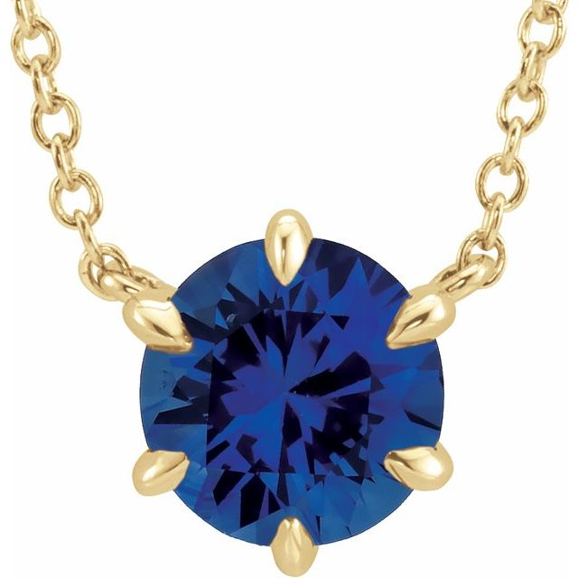 Genuine Created Sapphire Necklace in 14 Karat Yellow Gold Chatham Created Genuine Sapphire Solitaire 18