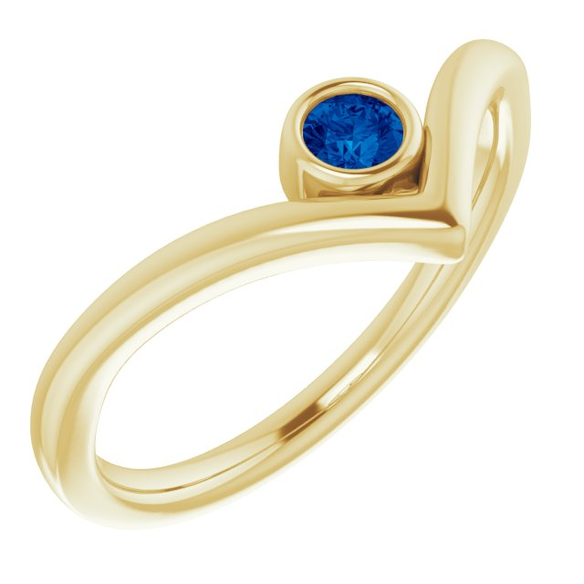 Genuine Chatham Created Sapphire Ring in 14 Karat Yellow Gold Chatham Created Genuine Sapphire Solitaire Bezel-Set