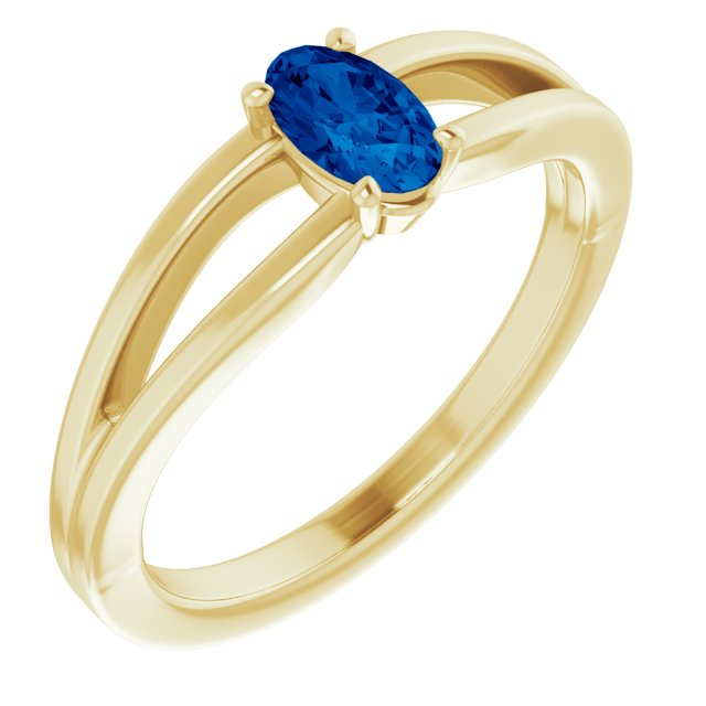 Genuine Created Sapphire Ring in 14 Karat Yellow Gold Chatham Created Genuine Sapphire Solitaire Youth Ring