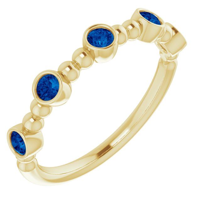 Genuine Chatham Created Sapphire Ring in 14 Karat Yellow Gold Chatham Created Genuine Sapphire Stackable Beaded Ring