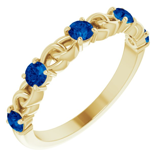 Genuine Chatham Created Sapphire Ring in 14 Karat Yellow Gold Chatham Created Genuine Sapphire Stackable Link Ring