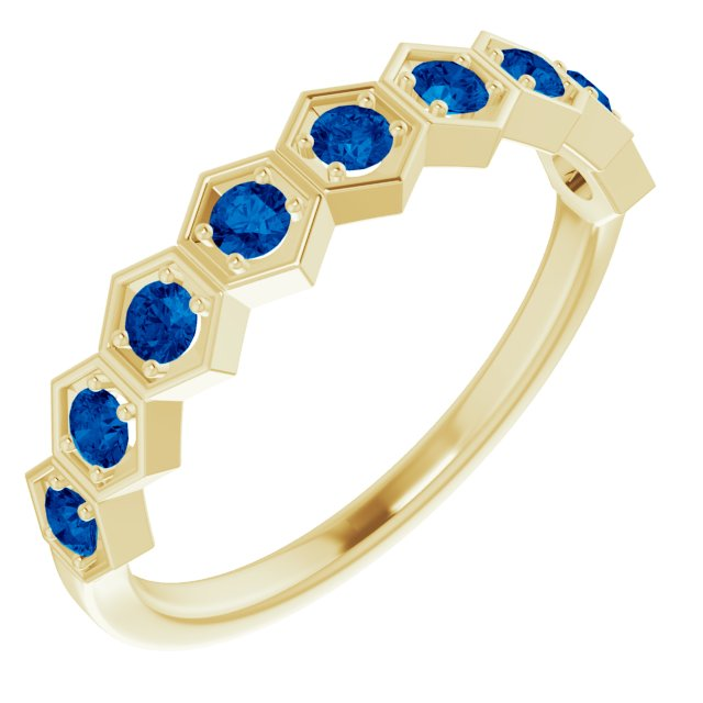 Genuine Chatham Created Sapphire Ring in 14 Karat Yellow Gold Chatham Created Genuine Sapphire Stackable Ring