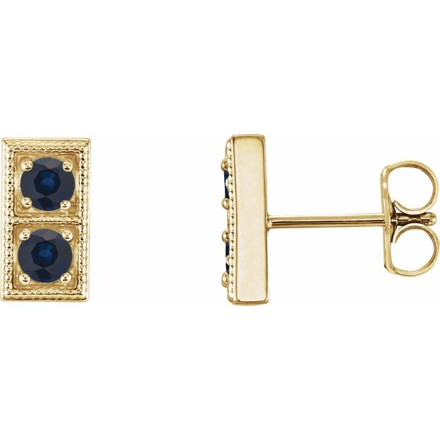 Created Sapphire Earrings in 14 Karat Yellow Gold Chatham Created Genuine SapphireTwo-Stone Earrings
