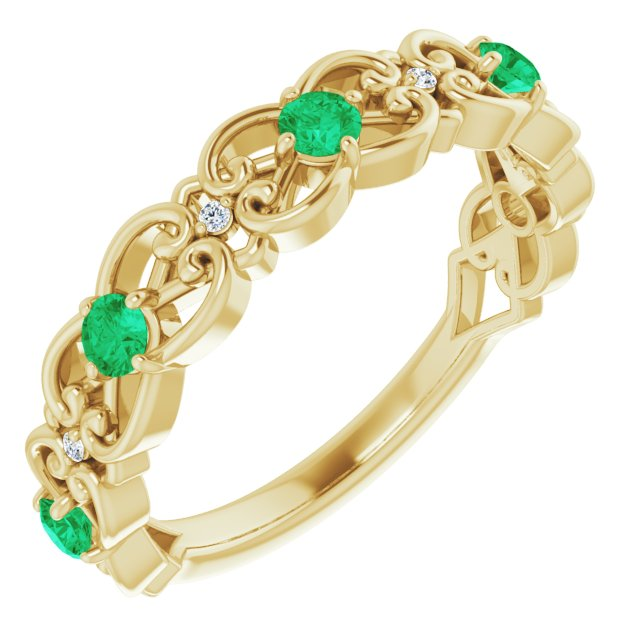 Genuine Chatham Created Emerald Ring in 14 Karat Yellow Gold Chatham Created Emerald & .02 Carat Diamond Vintage-Inspired Scroll Ring