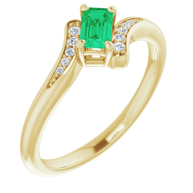 Genuine Chatham Created Emerald Ring in 14 Karat Yellow Gold Chatham Created Emerald & .04 Carat Diamond Ring