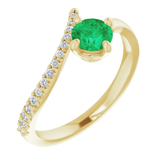 Genuine Chatham Created Emerald Ring in 14 Karat Yellow Gold Chatham Created Emerald & 1/10 Carat Diamond Bypass Ring