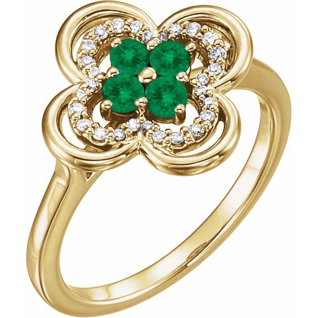 Genuine Chatham Created Emerald Ring in 14 Karat Yellow Gold Chatham Created Emerald & 1/10 Carat Diamond Ring