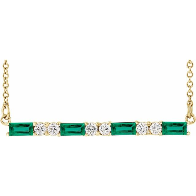 Chatham Created Emerald Necklace in 14 Karat Yellow Gold Chatham Created Emerald & 1/5 Carat Diamond Bar 16-18