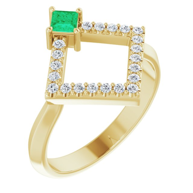 Genuine Chatham Created Emerald Ring in 14 Karat Yellow Gold Chatham Created Emerald & 1/5 Carat Diamond Geometric Ring