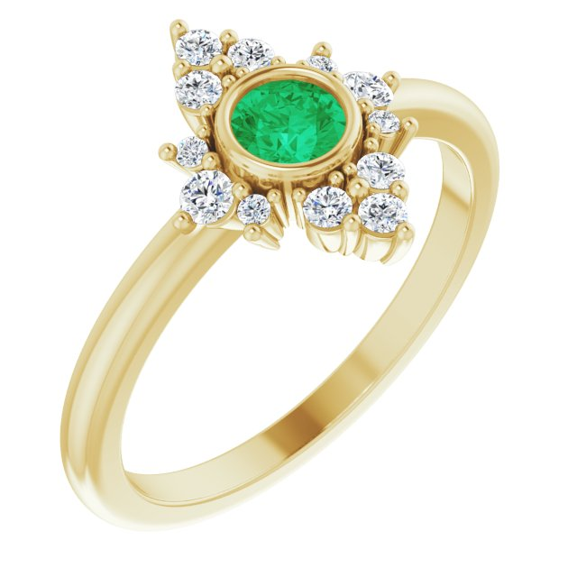 Genuine Chatham Created Emerald Ring in 14 Karat Yellow Gold Chatham Created Emerald & 1/5 Carat Diamond Ring