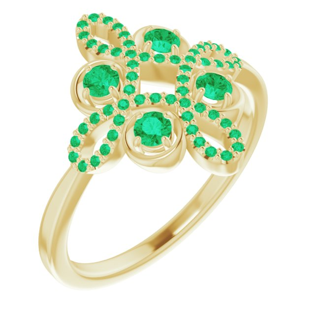 Genuine Chatham Created Emerald Ring in 14 Karat Yellow Gold Chatham Created Emerald & 1/6 Carat Diamond Clover Ring