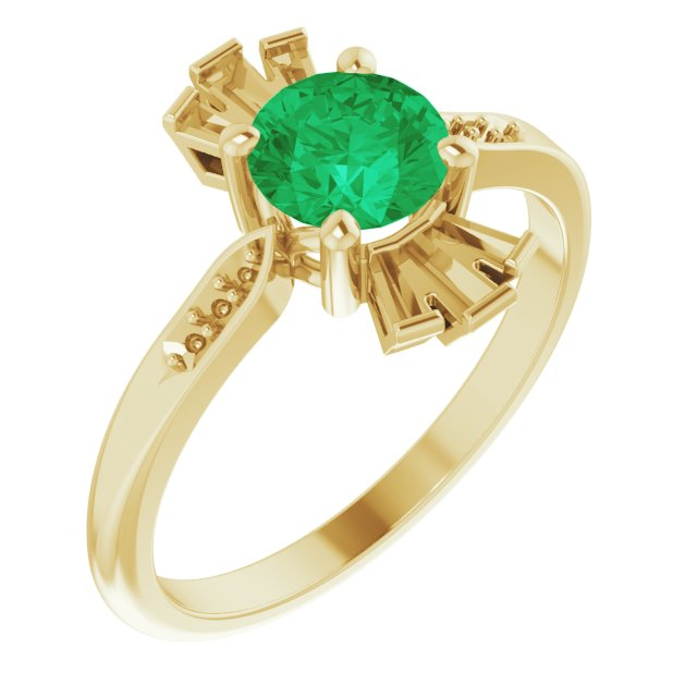 Genuine Chatham Created Emerald Ring in 14 Karat Yellow Gold Chatham Created Emerald & 1/6 Carat Diamond Ring